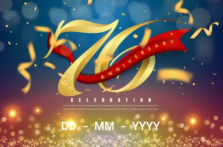 66 years anniversary logo template on gold and blue background. 66th celebrating golden numbers with red ribbon vector and confetti isolated design elements