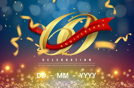 60 years anniversary logo template on gold and blue background. 60th celebrating golden numbers with red ribbon vector and confetti isolated design elements Illustration