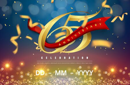 65 years anniversary logo template on gold and blue background. 65th celebrating golden numbers with red ribbon vector and confetti isolated design elements Illustration