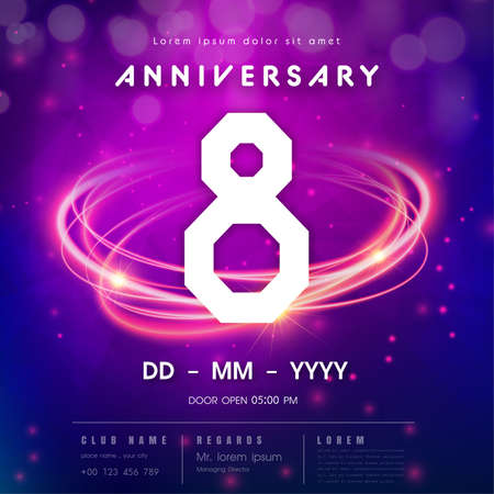 8 years anniversary logo template on purple Abstract futuristic space background. 8th modern technology design celebrating numbers with Hi-tech network digital technology concept design elements.