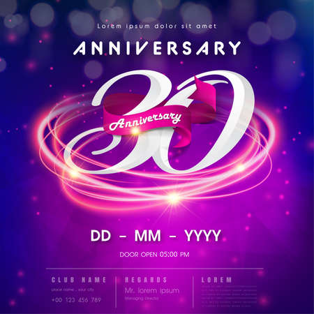 30 years anniversary logo template on purple Abstract futuristic space background. 30th modern technology design celebrating numbers with Hi-tech network digital technology concept design elements.
