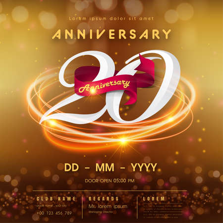 20 years anniversary logo template on golden Abstract futuristic space background. 20th modern technology design celebrating numbers with Hi-tech network digital technology concept design elements.
