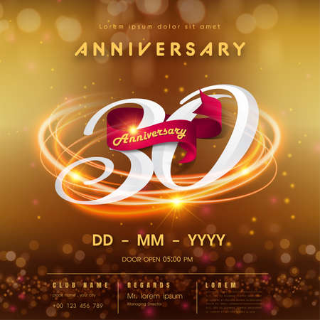 30 years anniversary logo template on golden Abstract futuristic space background. 30th modern technology design celebrating numbers with Hi-tech network digital technology concept design elements.