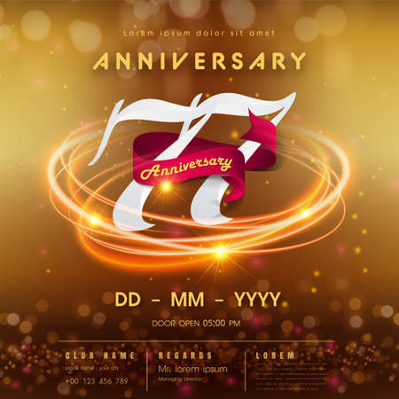 77 years anniversary logo template on golden Abstract futuristic space background. 77th modern technology design celebrating numbers with Hi-tech network digital technology concept design elements.