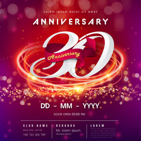 30 years anniversary logo template on red and pink  futuristic space background. 30th modern technology design celebrating numbers with Hi-tech network digital technology concept design elements 向量圖像