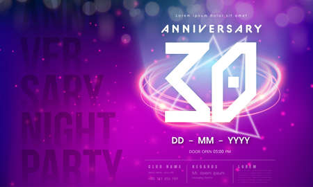30 years anniversary  template on purple Abstract futuristic space background. 30th modern technology design celebrating numbers with Hi-tech network digital technology concept design elements.