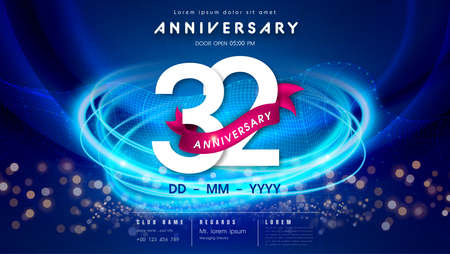 32 years anniversary   template on dark blue Abstract futuristic space background. 32nd modern technology design celebrating numbers with Hi-tech network digital technology concept design elements.