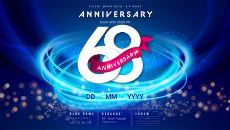 68 years anniversary  template on dark blue Abstract futuristic space background. 68th modern technology design celebrating numbers with Hi-tech network digital technology concept design elements.  イラスト・ベクター素材