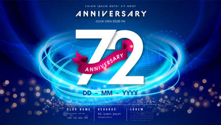 72 years anniversary  template on dark blue Abstract futuristic space background. 72sd modern technology design celebrating numbers with Hi-tech network digital technology concept design elements.