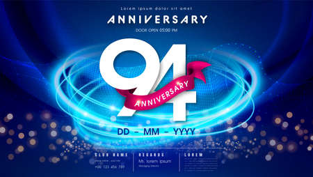 94 years anniversary  template on dark blue Abstract futuristic space background. 94th modern technology design celebrating numbers with Hi-tech network digital technology concept design elements.