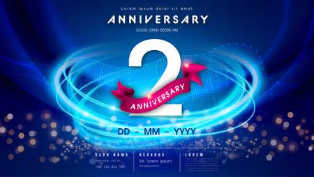 2 years anniversary  template on dark blue Abstract futuristic space background. 2nd modern technology design celebrating numbers with Hi-tech network digital technology concept design elements.