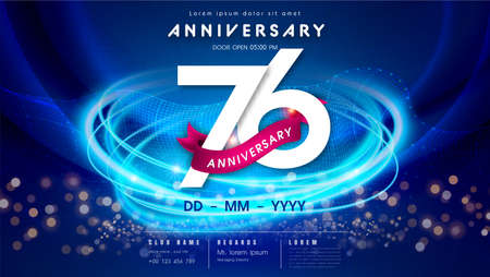 76 years anniversary  template on dark blue Abstract futuristic space background. 76th modern technology design celebrating numbers with Hi-tech network digital technology concept design elements.