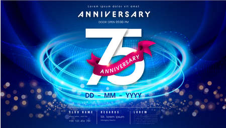 75 years anniversary  template on dark blue Abstract futuristic space background. 75th modern technology design celebrating numbers with Hi-tech network digital technology concept design elements.
