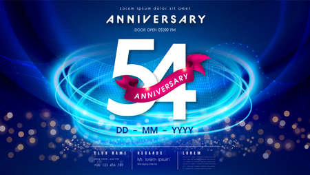 54 years anniversary   template on dark blue Abstract futuristic space background. 54th modern technology design celebrating numbers with Hi-tech network digital technology concept design elements.