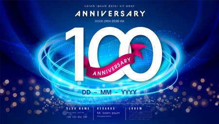 100 years anniversary  template on dark blue Abstract futuristic space background. 100th modern technology design celebrating numbers with Hi-tech network digital technology concept design elements.  イラスト・ベクター素材