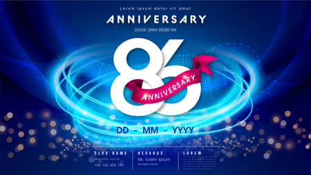 86 years anniversary  template on dark blue Abstract futuristic space background. 86th modern technology design celebrating numbers with Hi-tech network digital technology concept design elements.  イラスト・ベクター素材