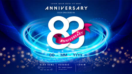 83 years anniversary  template on dark blue Abstract futuristic space background. 83rd modern technology design celebrating numbers with Hi-tech network digital technology concept design elements.