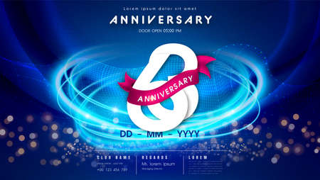 63 years anniversary  template on dark blue Abstract futuristic space background. 63rd modern technology design celebrating numbers with Hi-tech network digital technology concept design elements.  イラスト・ベクター素材