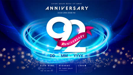 92 years anniversary  template on dark blue Abstract futuristic space background. 92sd modern technology design celebrating numbers with Hi-tech network digital technology concept design elements.