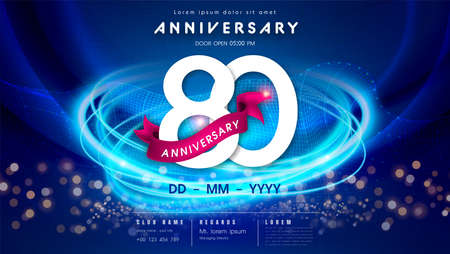80 years anniversary  template on dark blue Abstract futuristic space background. 80th modern technology design celebrating numbers with Hi-tech network digital technology concept design elements.