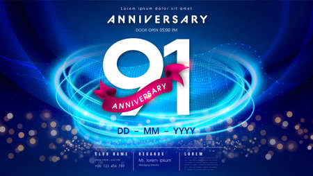 91 years anniversary  template on dark blue Abstract futuristic space background. 91st modern technology design celebrating numbers with Hi-tech network digital technology concept design elements.