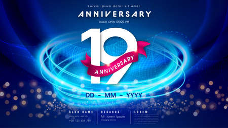19 years anniversary   template on dark blue Abstract futuristic space background. 19th modern technology design celebrating numbers with Hi-tech network digital technology concept design elements.