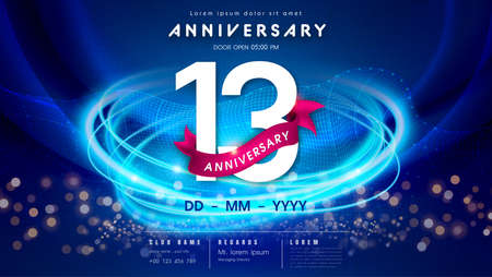13 years anniversary  template on dark blue Abstract futuristic space background. 13th modern technology design celebrating numbers with Hi-tech network digital technology concept design elements. 写真素材