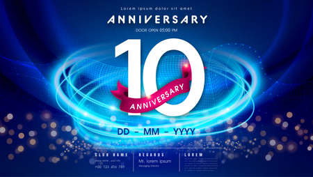 10 years anniversary  template on dark blue Abstract futuristic space background. 10th modern technology design celebrating numbers with Hi-tech network digital technology concept design elements. 写真素材