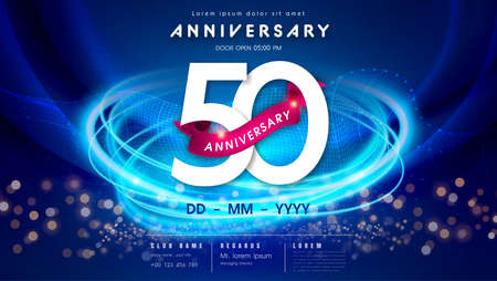 50 years anniversary  template on dark blue Abstract futuristic space background. 50th modern technology design celebrating numbers with Hi-tech network digital technology concept design elements.