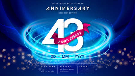 43 years anniversary  template on dark blue Abstract futuristic space background. 43rd modern technology design celebrating numbers with Hi-tech network digital technology concept design elements.