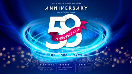 58 years anniversary  template on dark blue Abstract futuristic space background. 58th modern technology design celebrating numbers with Hi-tech network digital technology concept design elements.  イラスト・ベクター素材