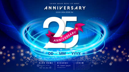 25 years anniversary   template on dark blue Abstract futuristic space background. 25th modern technology design celebrating numbers with Hi-tech network digital technology concept design elements.