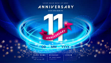 11 years anniversary  template on dark blue Abstract futuristic space background. 11th modern technology design celebrating numbers with Hi-tech network digital technology concept design elements.