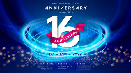 16 years anniversary  template on dark blue Abstract futuristic space background. 16th modern technology design celebrating numbers with Hi-tech network digital technology concept design elements.