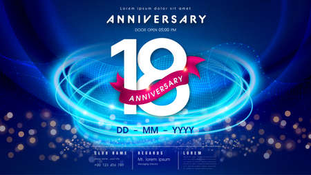 18 years anniversary  template on dark blue Abstract futuristic space background. 18th modern technology design celebrating numbers with Hi-tech network digital technology concept design elements.