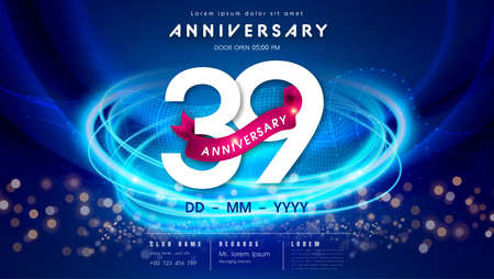 39 years anniversary  template on dark blue Abstract futuristic space background. 39th modern technology design celebrating numbers with Hi-tech network digital technology concept design elements. 写真素材