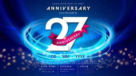 27 years anniversary  template on dark blue Abstract futuristic space background. 27th modern technology design celebrating numbers with Hi-tech network digital technology concept design elements. 写真素材