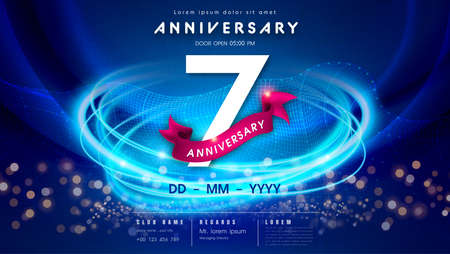 7 years anniversary  template on dark blue Abstract futuristic space background. 7th modern technology design celebrating numbers with Hi-tech network digital technology concept design elements. 写真素材