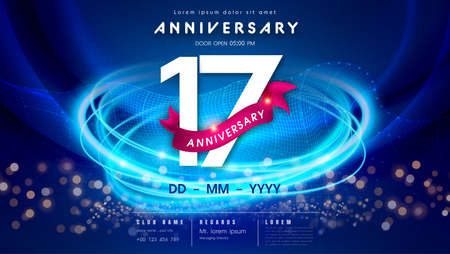 17 years anniversary  template on dark blue Abstract futuristic space background. 17th modern technology design celebrating numbers with Hi-tech network digital technology concept design elements. 写真素材