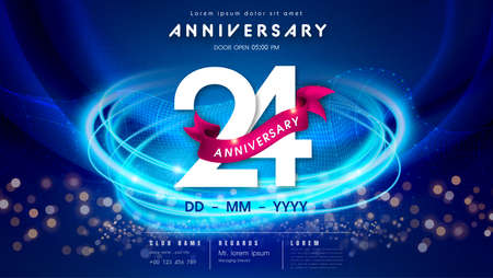 24 years anniversary  template on dark blue Abstract futuristic space background. 24th modern technology design celebrating numbers with Hi-tech network digital technology concept design elements. 写真素材