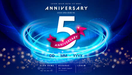 5 years anniversary  template on dark blue Abstract futuristic space background. 5th modern technology design celebrating numbers with Hi-tech network digital technology concept design elements.
