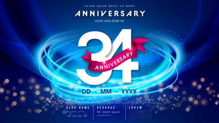 34 years anniversary  template on dark blue Abstract futuristic space background. 34th modern technology design celebrating numbers with Hi-tech network digital technology concept design elements.