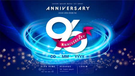 96 years anniversary  template on dark blue Abstract futuristic space background. 96th modern technology design celebrating numbers with Hi-tech network digital technology concept design elements.  イラスト・ベクター素材