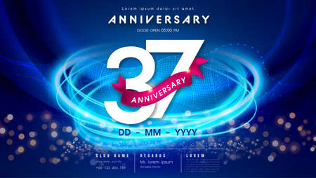 37 years anniversary  template on dark blue Abstract futuristic space background. 37th modern technology design celebrating numbers with Hi-tech network digital technology concept design elements. 写真素材