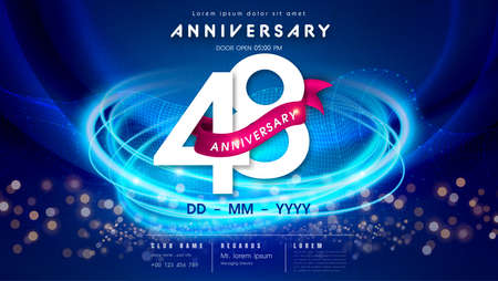 48 years anniversary  template on dark blue Abstract futuristic space background. 48th modern technology design celebrating numbers with Hi-tech network digital technology concept design elements.