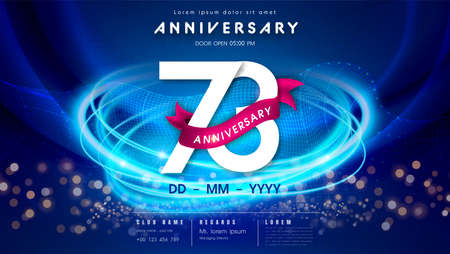 73 years anniversary  template on dark blue Abstract futuristic space background. 73rd modern technology design celebrating numbers with Hi-tech network digital technology concept design elements.  イラスト・ベクター素材