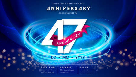 47 years anniversary  template on dark blue Abstract futuristic space background. 47th modern technology design celebrating numbers with Hi-tech network digital technology concept design elements. 写真素材