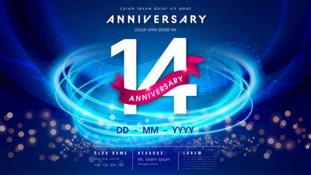 14 years anniversary  template on dark blue Abstract futuristic space background. 14th modern technology design celebrating numbers with Hi-tech network digital technology concept design elements.