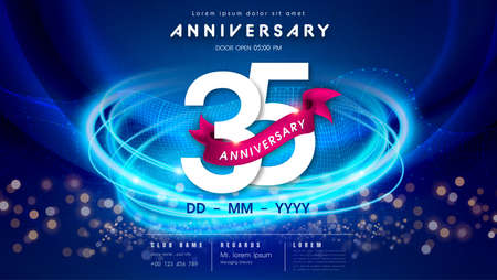35 years anniversary  template on dark blue Abstract futuristic space background. 35th modern technology design celebrating numbers with Hi-tech network digital technology concept design elements.