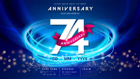 74 years anniversary  template on dark blue Abstract futuristic space background. 74th modern technology design celebrating numbers with Hi-tech network digital technology concept design elements.